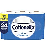 Cottonelle Ultra CleanCare Toilet Paper, 12 Double Rolls, 170 Sheets per Roll
