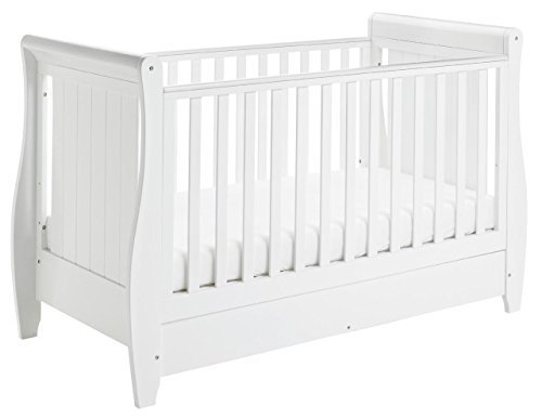 Babymore Stella Sleigh Cot Bed Dropside with Drawer - White