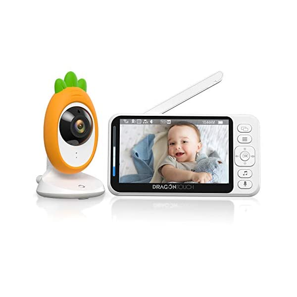 Video Baby Monitor, Dragon Touch E40 4.3″ HD LCD Display with Camera, Two-Way Audio, Invisible LED Night Vision, VOX Mode, Split Screen, 960ft Range, 8 Lullabies and Room Temperature Monitoring