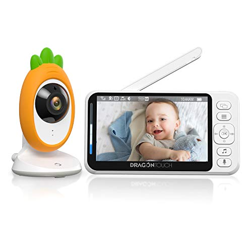 "Video Baby Monitor, Dragon Touch E40 4.3"" HD LCD Display with Camera, Two-Way Audio, Invisible LED Night Vision, VOX Mode, Split Screen, 960ft Range, 8 Lullabies and Room Temperature Monitoring"
