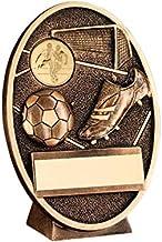"""Trophy Shack Brons/Gouden Voetbal en Boot Ovale Plaque Trofee - (1"""" Centre) 5.5in - 140mm - Gratis Graveren - JR1-RF201C"""