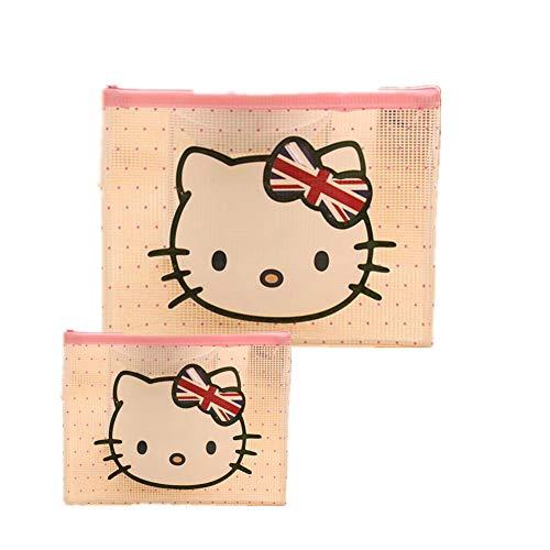 Set di 2 trousse per trucchi Hello Kitty con 3 cerniere, per documenti e cosmetici.