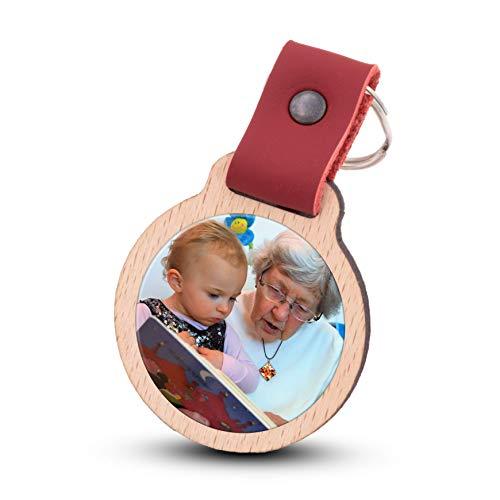 Wogenfels - Schlüsselanhänger selbst gestalten mit Fotodruck | Echtes Holz mit Lederband | kreative Geschenkidee Geschenk für Damen/Frauen (Rot)