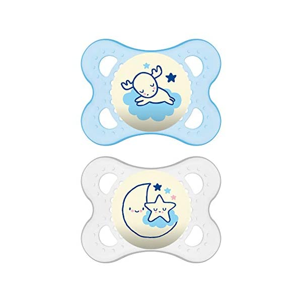 MAM Night Pacifiers (2 Pack, 1 Sterilizing Pacifier Case), MAM Pacifiers 0-6 Months, Best Pacifier for Breastfed Babies, Glow in The Dark Pacifier