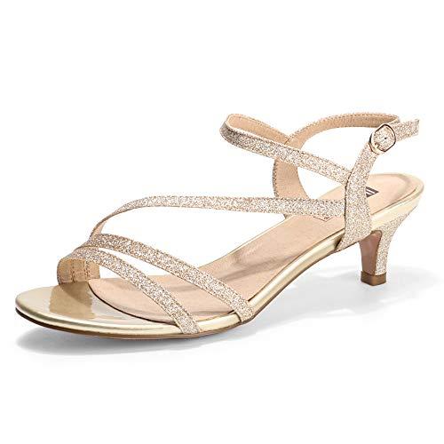 IDIFU Women's Strappy Heels Sandals 2 Inch Low Kitten Heel Open Toe Ankle Strap Wedding Bride Dress Shoes(Gold Glitter, 7)