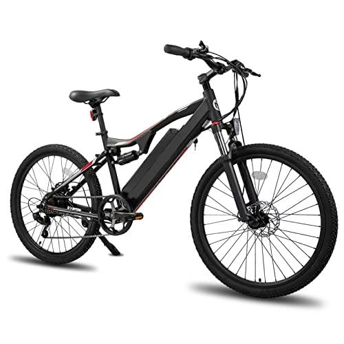 HMEI Bicicleta eléctrica de montaña para Adultos 250W / 500W 10Ah Motor de Cubo de Rueda Marco de Aluminio Bicicleta eléctrica Trasera de 7 velocidades (Color : Negro, tamaño : 500W)