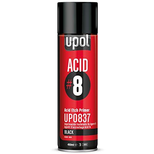 U-POL 0837 Black Acid#8 Etch Primer 450ml Aerosol, 12.7 Fluid_Ounces