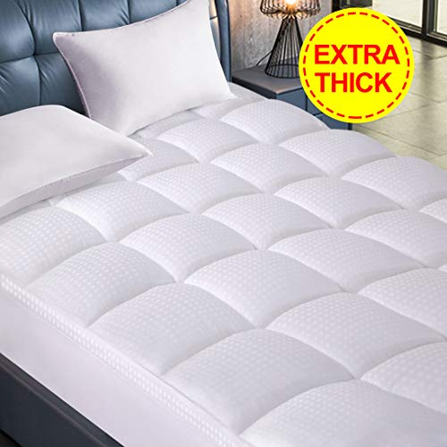 Starcast Queen Size Mattress Topper - Extra Thick Mattress Pad Cotton Pillow top Cooling Fitted Plush Topper Cover (Deep Pocket 8-21Inch) & Abakan