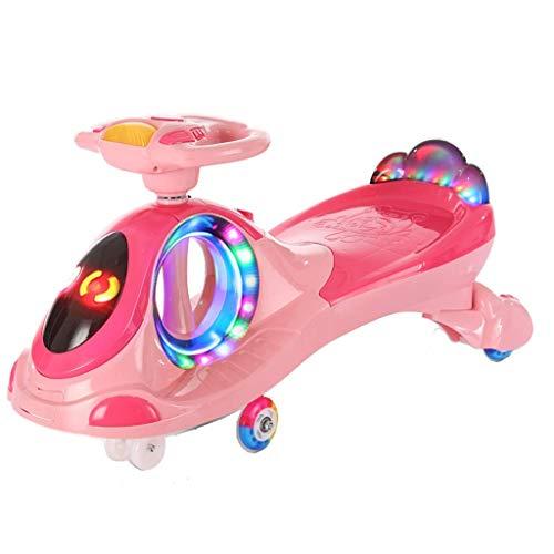 CAIMEI Kids Twist Car, Columpio de Juguete con Luz Led 1-3-6 Juegos Deslizantes para Niños/Niñas Fitness Yo Gyro Wiggle Scooter Mute Prevención de Vuelcos (Color: Pink),Rosado