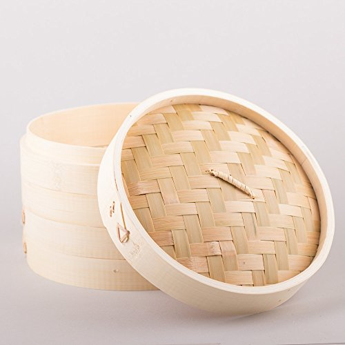Pamai Pai® Großer 3 TLG. Bambusdämpfer 30cm Dämpfaufsatz Bambus Steamer Dämpfer Dampfgarer Bamboo