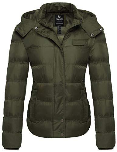 Wantdo Women's Plus Size Windproof Puffer Jacket Fleece Warm Winter Coat Olive M