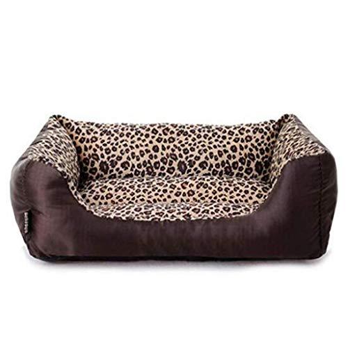 AMURAO Atmungsaktive Winter-Hundebetten Leopard-Haustier-Bett-Hundehütte-Art- und Weisebequeme Haustier-Produkte Haustier-Haus (M, Leopard)