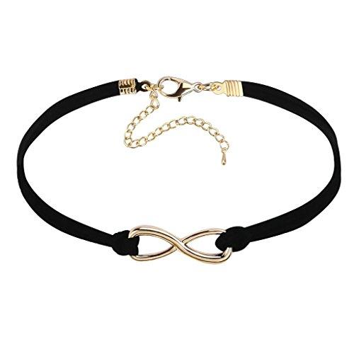 Daesar Joyería Mujer Joven Acero Inoxidable Terciopelo Velvet Wave Crochet Elegant Oro Negro Choker Necklace, 29.4+8.4CM