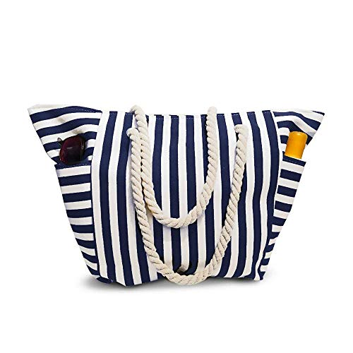 Beach Bag With Inner Zipper Pocket from Moskus Gear - Tote Bag with Top Zipper and Rope Handles (Large, White and Navy Blue)