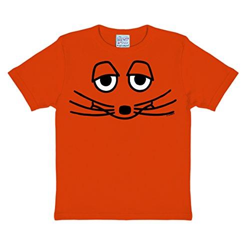 Logoshirt Die Sendung mit der Maus - Die Maus Gesicht Kinder T-Shirt - orange - Lizenziertes Originaldesign Lizenziertes Originaldesign, Größe 92/98, 2-3 Jahre