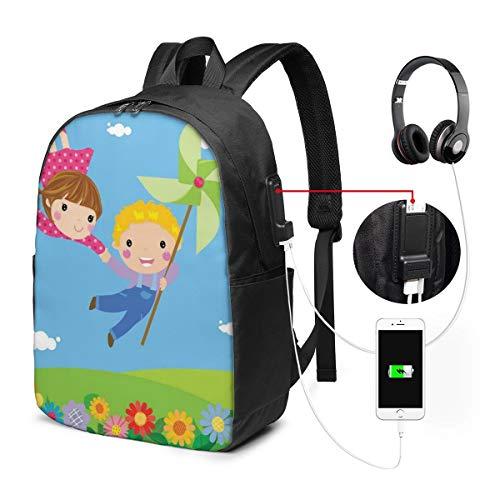 Usicapwear rugzak, kleine jongen en meisje vliegen fantasie fee vriendschap vreugdevolle jeugd spelletjes Cartoon