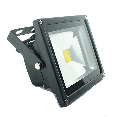QUANS 20W 12V 24V AC DC Ultra Bright White LED Security Wash Flood Light Floodlight Lamp High Power Black Case Waterproof IP65 Superbright (Warm White), 12-24V Input Low Voltage