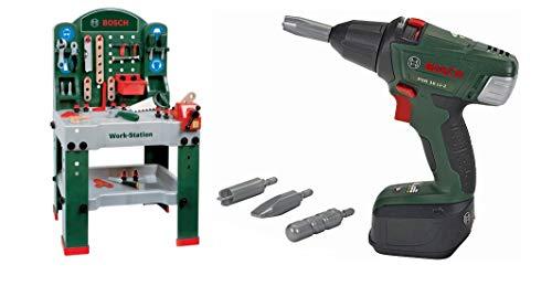 Theo Klein 8580 - Bosch Workstation 60 x 78 cm, Spielzeug & Klein 8567 - Akku-Schrauber Bosch