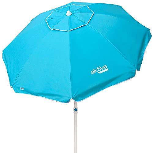 Aktive 62212 - Sombrilla de playa, Ø200 cm, color azul claro, con protección UV filtro 50, mástil Ø28-32 mm, incluye bolsa para transportarla, Sombrilla playa plegable, Aktive Beach