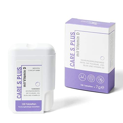 Care S PLUS APOTHEKENPRODUKT - Folsäure 800 µg Jod Selen Vitamin D-3 für Kinderwunsch & Schwangerschaft - VEGETARISCH
