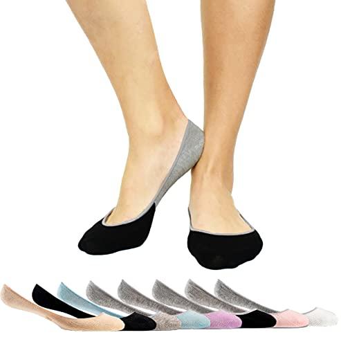 Thirty48 Women's Premium No Show Socks with Non Slip Grip(One Size (6-9), Black(3 Pairs))