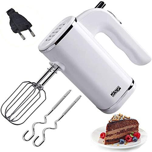Edelstahl Elektrischer Handmixer, Elektrische Handrührer zum Backen von Küchenkuchen, 500Watt, Knethaken, Rührbesen, Auswurftaste, Mixer, 5 Geschwindigkeiten plus Turbo, weiß