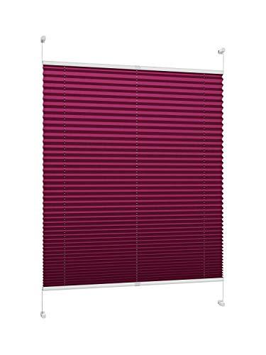 DecoProfi PLISSEE Bordeaux, verspannt, Breite 50cm x 130cm (max. Gesamthöhe Fensterflügel), mit Klemmträger/Klemmfix/ohne Bohren