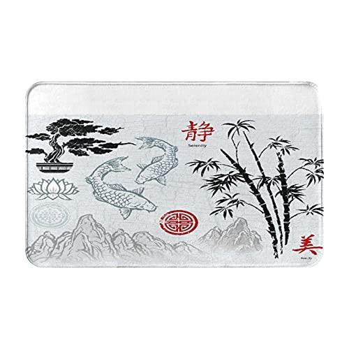Alfombras de baño antideslizantes,adornos de pincel de tinta asiática japonesa roja,bambú coreano chino de acuarela,alfombrilla de baño de felpa lavable extra suave,alfombras de baño para ducha