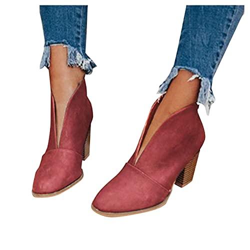 Damen Stiefeletten Chelsea Boots Damen Stiefeletten Winter Herbst Frauen Stiefel Stiefeletten Stiefeletten mit gestapeltem Absatz Modische Leder Kurze Stiefel Short Boots Ankle Boots Booties