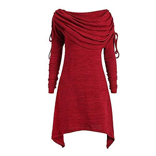 Jersey de manga larga para mujer estilo casual y largo Gules XXX-Large