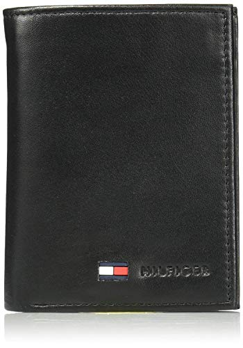 Tommy Hilfiger Men's Trifold Wallet-Sleek and Slim Includes ID Window and Credit Card Holder, Logan Tan, One Size