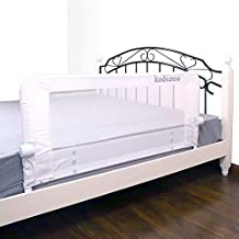 Toddlers Safety Bed Rail 59 Inches Fold Down Children Bed Guard with NBR Foam Include 1pcs Seat Belt (White)