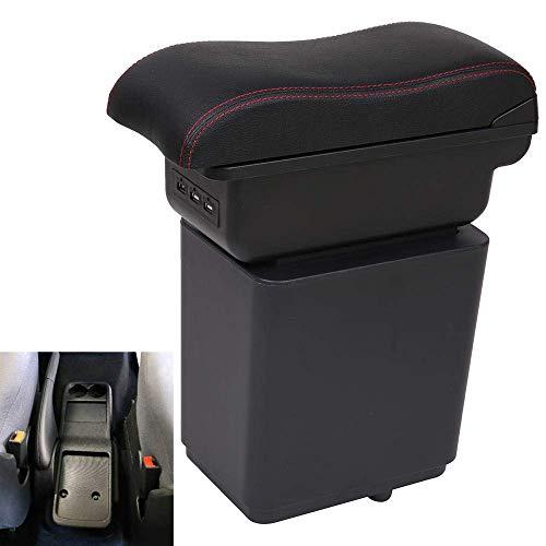 For Citroen Berlingo, Caja de almacenamiento USB apoyabrazos del coche del resto del brazo de cuero de coches de estilo-Automóviles Centro Cajón de Accesorios de coche yqaae