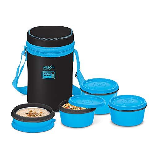 Milton Neo Big Tiffin Lunch Box, 4 Inner Steel Container, Black, (180-320 & 450 ml)