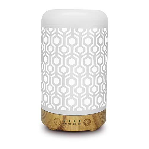 Difusor de Aceite Esencial de aromaterapia,humidificador silencioso con protección de Apagado automático sin Agua y LED Cambiado de 7 Colores para SPA,Oficina Y casa (Pequeño, 100 ml)