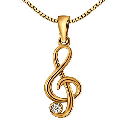 CLEVER SCHMUCK-SET dorato ciondolo a forma di chiave con zirconi minadesign semibrevi vero oro 333 e Venezia catena 42 cm
