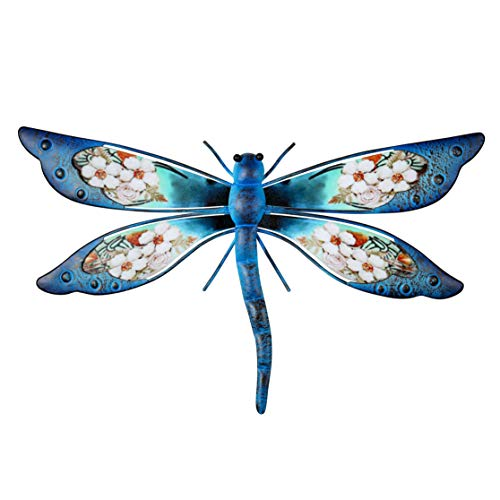 YOUIN Metal Dragonfly Wall Decor with Floral Pattern Outdoor Garden Wall Art Hanging for Bathroom Living Room Bedroom or Garden Wall Sculptures