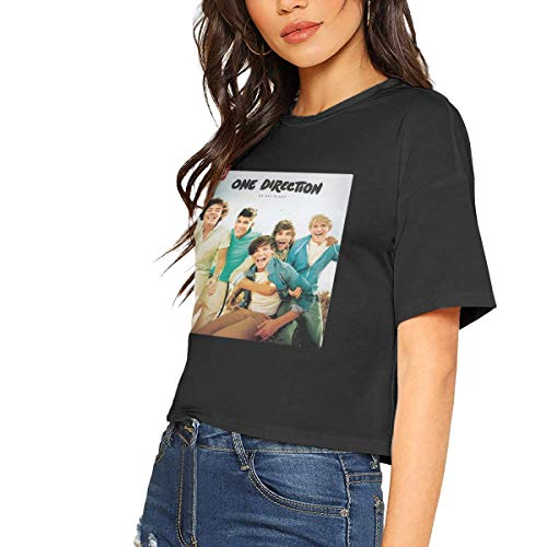 Women's Short Sleeve T-Shirt Woman's One Direction Crop Tops Black S