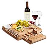 Natural Bamboo Cheese Board & Charcuterie Platter with Two Ramekans for Dips and...