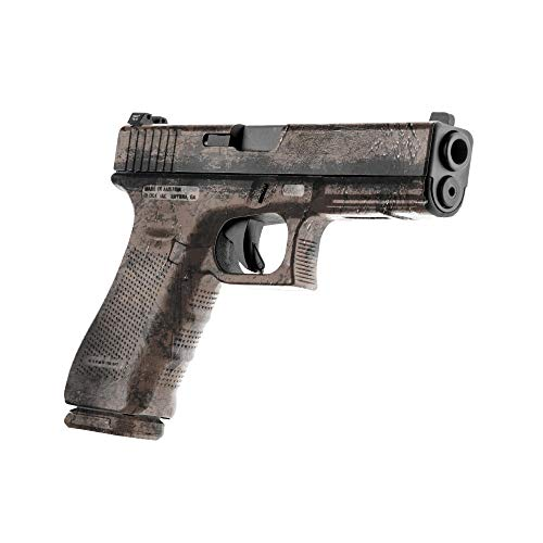 GunSkins Pistol Skin - Premium Vinyl Gun Wrap with Precut Pieces - Easy to Install and Fits Any Handgun - 100% Waterproof Non-Reflective Matte Finish - Made in USA -GS BattleWorn Dark Earth
