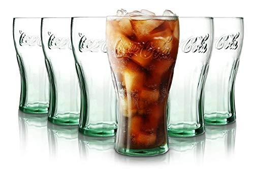 Tivoli Coca Cola Verres à Eau- 330 ML - Jeu d'6 - Verres de Haute qualité - Lavable au Lave-Vaisselle - Verres en Cristal