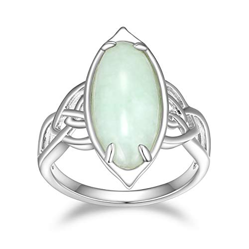 925 Sterling Silver Genuine Green Jade Celtic Knot Band Satement Ring, Size 9