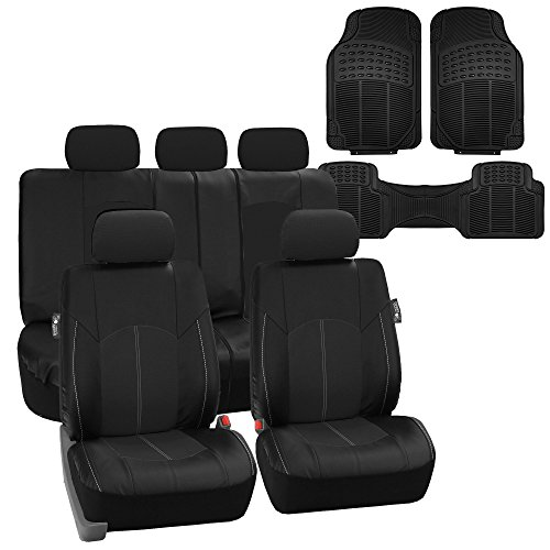 FH Group PU008115 + F11306 Highest Grade Faux Leather Seat Covers (Black) Full Set  Universal Fit for Cars Trucks & SUVs