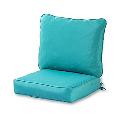 Greendale Home Fashions AZ7820-TEAL Arctic Outdoor 2-Piece Deep Seat Cushion Set