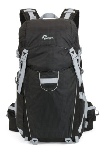 Lowepro Photo Sport 200 AW - Mochila con compartimientos para cámaras, negro y gris claro