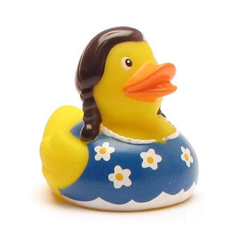 Duckshop I Badeente I Quietscheente I Ente Dirndl I L: 7,5 cm I inkl. Badeenten-Schlüsselanhänger im Set