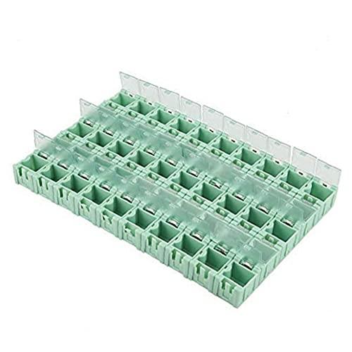 LeuMuas Kunststoff elektronische Bauteile Feld Miniwerkzeug Einfacher Gebrauch Nicht leicht tragen Container mit Selbstsichernde Schnalle 50 Grids für Schrauben Muttern Werkzeug Sorting
