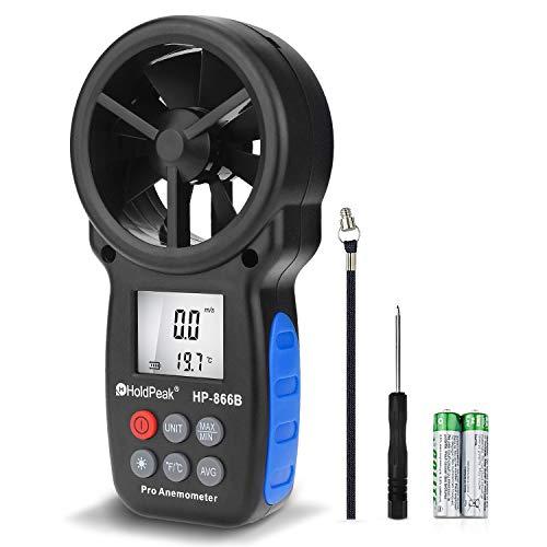 H Holdpeak HP-866B Digitaler Anemometer Handheld Windgeschwindigkeitsmesser zur Messung von Windgeschwindigkeit, Temperatur und Windkühlung mit Hintergrundbeleuchtung und Max/Min, 16.5cmx3.8cmx8.5cm