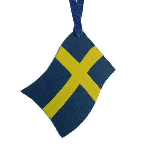 ScandinavianShoppe Sweden Flag Wooden Ornament