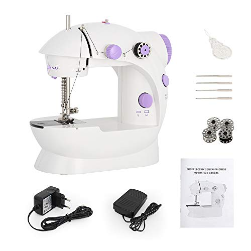 Mini Sewing Machine Handheld Portable Electric Sewing Machines Adjustable 2Speed with Foot Pedal for Kids Childrens Beginners Purple Embroidery Machine for Home Sewing